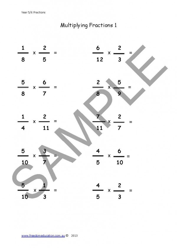 Year 6 Maths Fractions Freedom Education – Year 7 Worksheets Maths